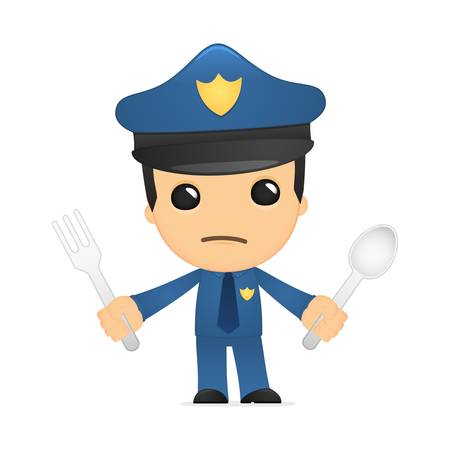 funny cartoon policeman Stock Vector - 13889957