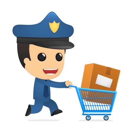 funny cartoon policeman Stock Vector - 13890117