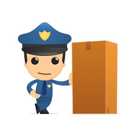 security staff: funny cartoon policeman