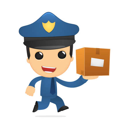 security uniform: funny cartoon policeman