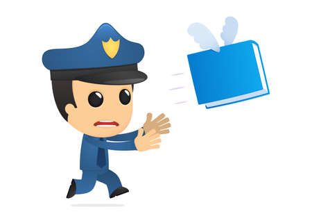 funny cartoon policeman Stock Vector - 13890076