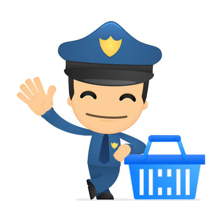 e store: funny cartoon policeman