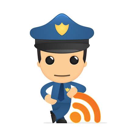 funny cartoon policeman Stock Vector - 13889922