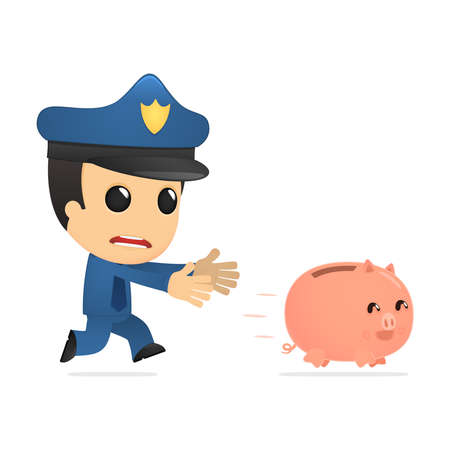 funny cartoon policeman Stock Vector - 13890048