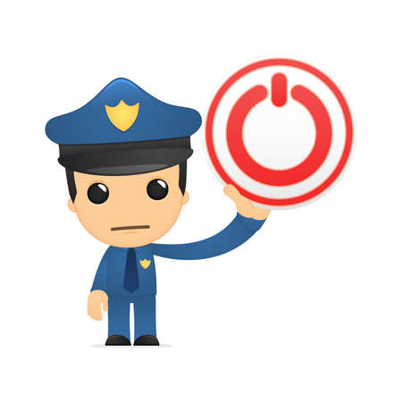 technical department: funny cartoon policeman