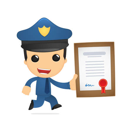 security company: funny cartoon policeman