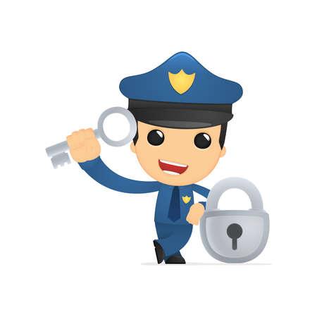 toegangscontrole: grappige cartoon politieman Stock Illustratie