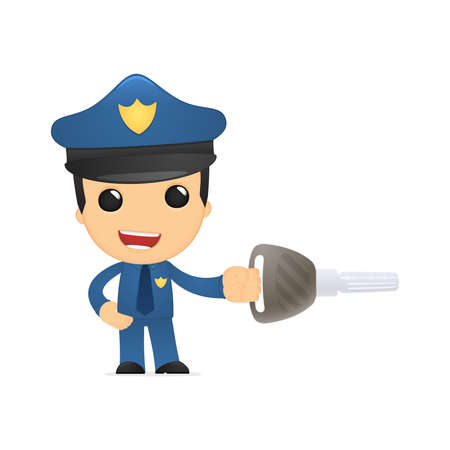 control tools: funny cartoon policeman