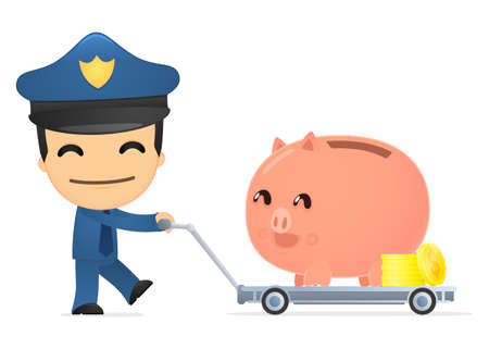 funny cartoon policeman Stock Vector - 13890150