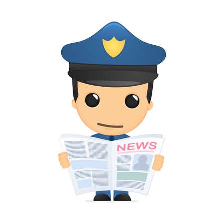 reading newspaper: funny cartoon policeman