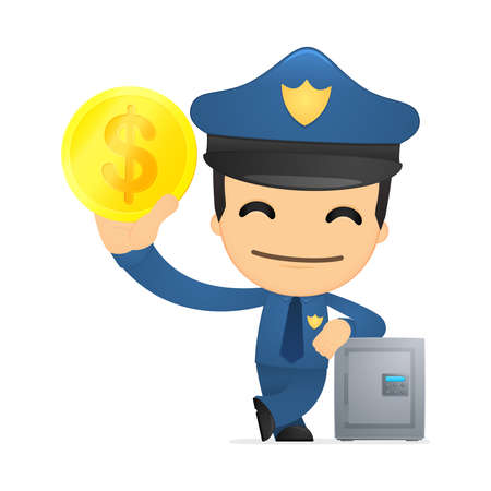 funny cartoon policeman Stock Vector - 13890138