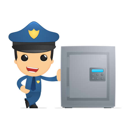 combination safe: funny cartoon policeman