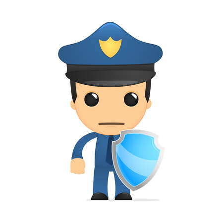 funny cartoon policeman Stock Vector - 13889952