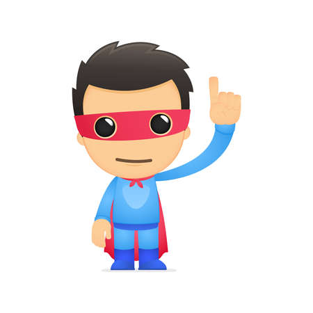 pointing finger: funny cartoon superhero