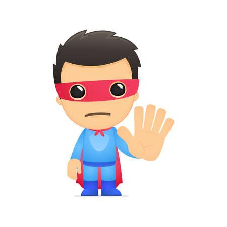 stop hand: funny cartoon superhero
