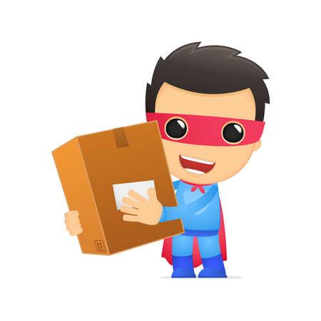 курьер: смешно супергероя мультфильмов Иллюстрация