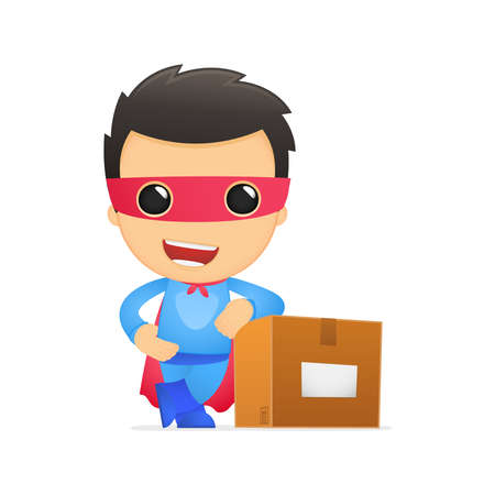 post box: funny cartoon superhero