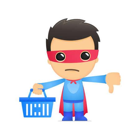 super market: funny cartoon superhero