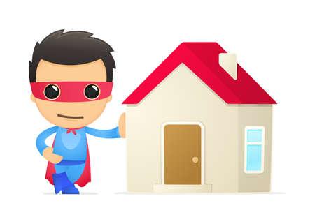 housing estate: funny cartoon superhero