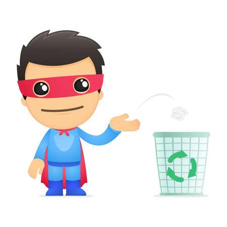 afvalbak: grappige cartoon superhero
