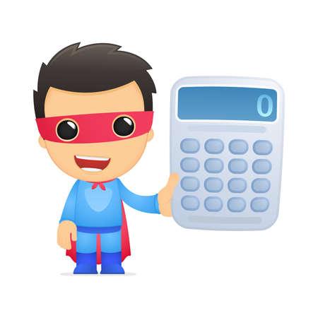rekenmachine: grappige cartoon superheld