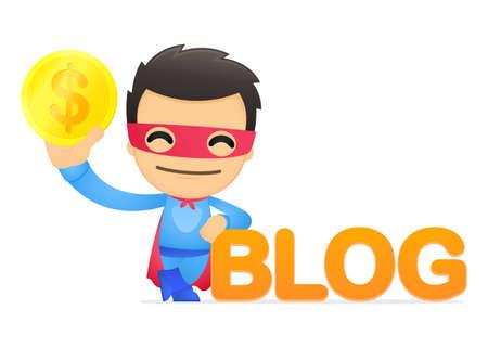 funny cartoon superhero Stock Vector - 13890394