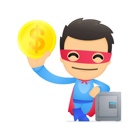 funny cartoon superhero Stock Vector - 13890431