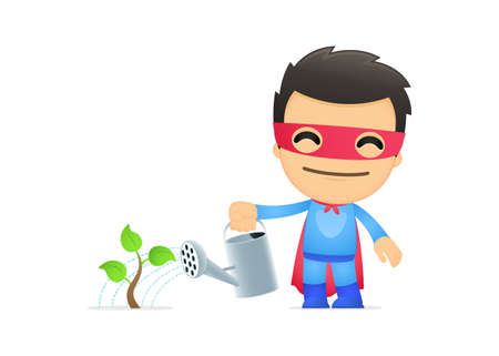 seedling growing: funny cartoon superhero