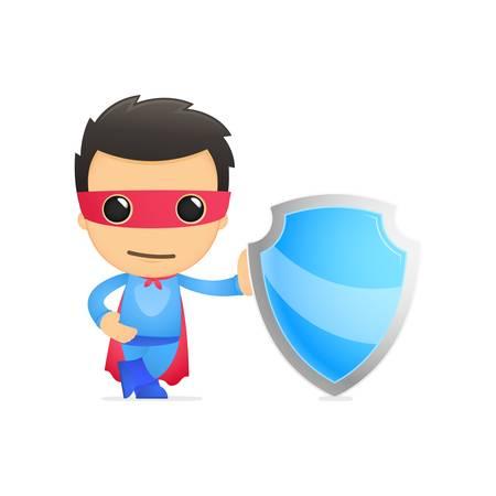 cartoon warrior: cartone animato divertente supereroe Vettoriali