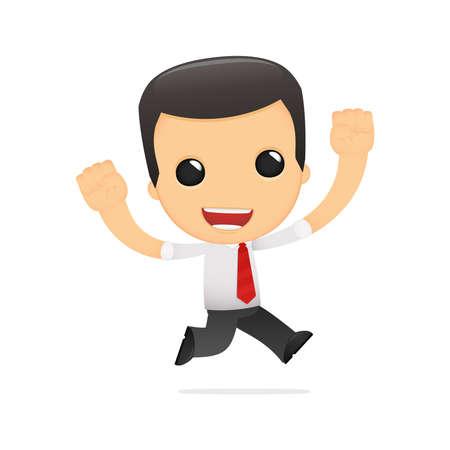 офис: забавный мультфильм менеджера в разных позах для использования в рекламе, презентации, брошюры, блоги, документы и формы, и т.д.
