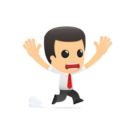 funny cartoon manager in various poses for use in advertising, presentations, brochures, blogs, documents and forms, etc. Illustration