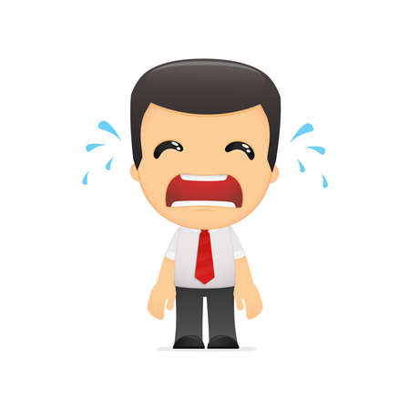 upset man: funny cartoon manager in various poses for use in advertising, presentations, brochures, blogs, documents and forms, etc. Illustration