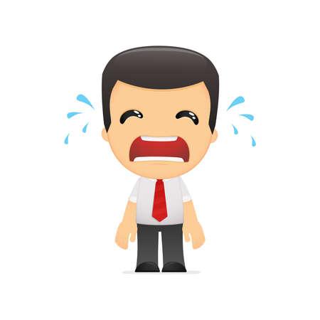 wenen: grappige cartoon manager in verschillende poses voor gebruik in reclame, presentaties, brochures, blogs, documenten en formulieren, etc. Stock Illustratie