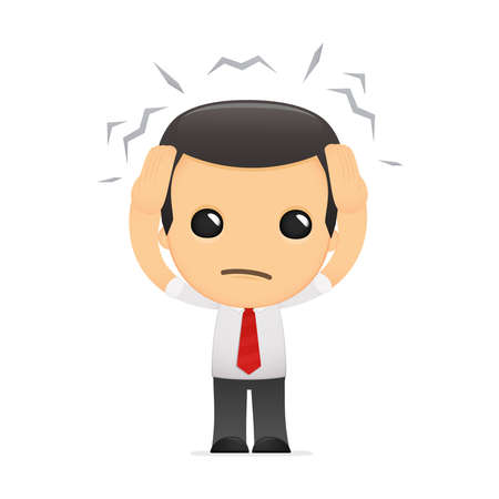 stressed businessman: funny cartoon manager in various poses for use in advertising, presentations, brochures, blogs, documents and forms, etc. Illustration