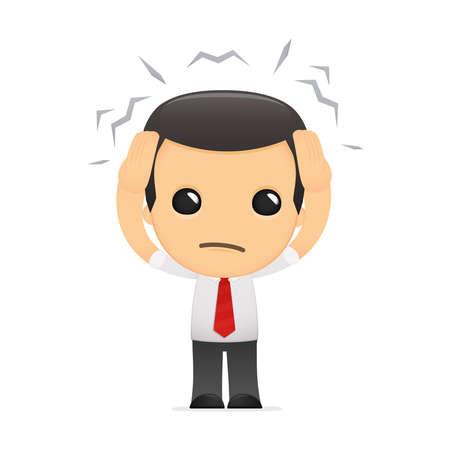 male headache: gerente de divertidos dibujos animados en varias poses para su uso en publicidad, presentaciones, folletos, blogs, documentos y formularios, etc