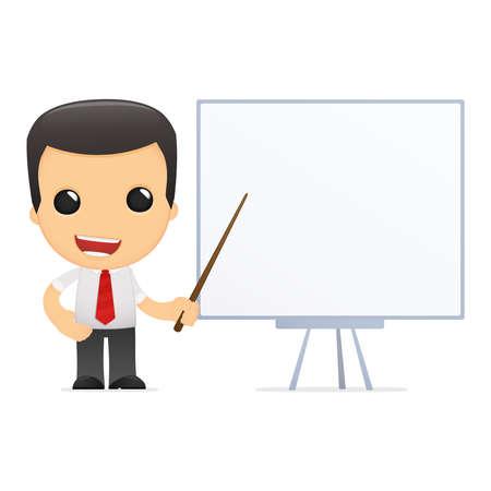 tutor: gerente de divertidos dibujos animados en varias poses para su uso en publicidad, presentaciones, folletos, blogs, documentos y formularios, etc