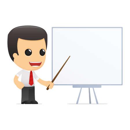 grappige cartoon manager in verschillende poses voor gebruik in reclame, presentaties, brochures, blogs, documenten en formulieren, etc.