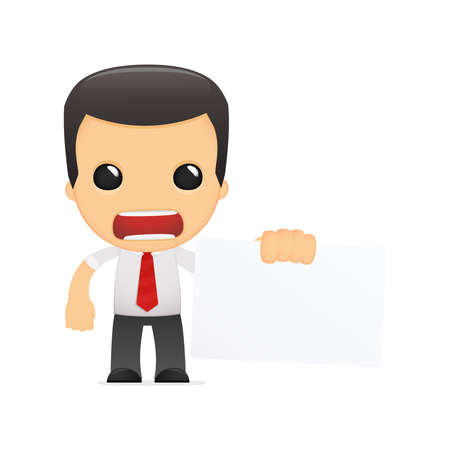 angry businessman: funny cartoon manager in various poses for use in advertising, presentations, brochures, blogs, documents and forms, etc. Illustration