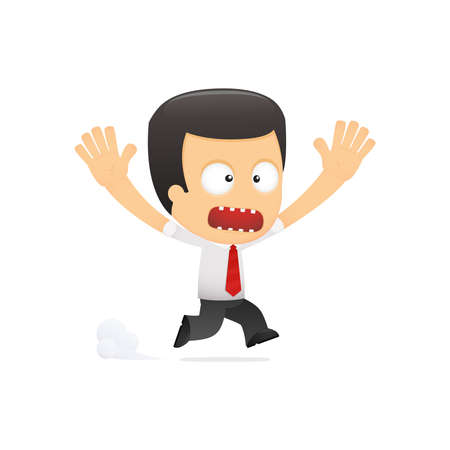 paniek: grappige cartoon manager in verschillende poses voor gebruik in reclame, presentaties, brochures, blogs, documenten en formulieren, enz.