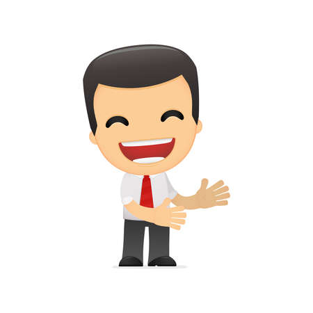 funny cartoon manager in various poses for use in advertising, presentations, brochures, blogs, documents and forms, etc. Vector