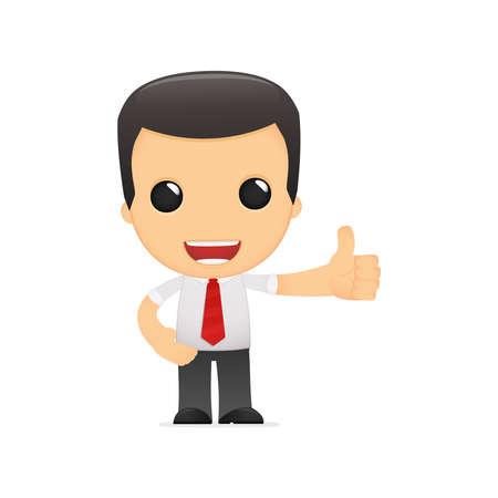 thumbs up business: gerente de divertidos dibujos animados en varias poses para su uso en publicidad, presentaciones, folletos, blogs, documentos y formularios, etc