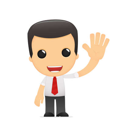 enthusiasm: funny cartoon manager in various poses for use in advertising, presentations, brochures, blogs, documents and forms, etc. Illustration