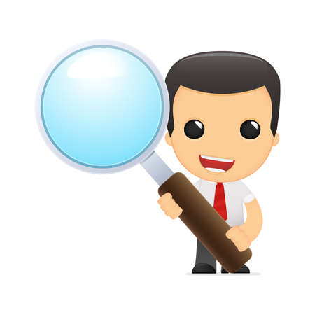 funny cartoon manager in vaus poses for use in advertising, presentations, brochures, blogs, documents and forms, etc. Stock Vector - 14075067