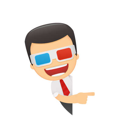3dtv: funny cartoon manager in various poses for use in advertising, presentations, brochures, blogs, documents and forms, etc. Illustration