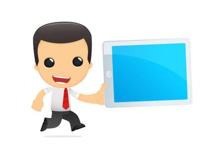 director de dibujos animados gracioso en varias poses para su uso en la publicidad, presentaciones, folletos, blogs, documentos y formularios, etc Ilustración de vector