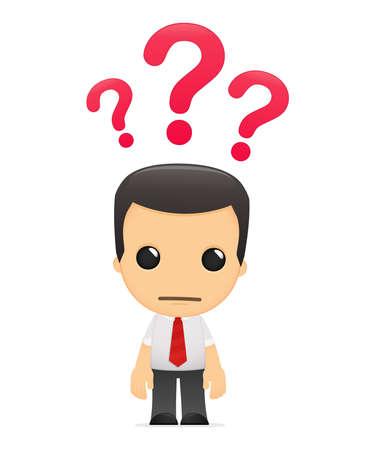 oficinista: gerente de divertidos dibujos animados en varias poses para su uso en publicidad, presentaciones, folletos, blogs, documentos y formularios, etc