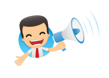 announce: funny cartoon manager in various poses for use in advertising, presentations, brochures, blogs, documents and forms, etc. Illustration