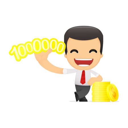 funny cartoon manager in vaus poses for use in advertising, presentations, brochures, blogs, documents and forms, etc. Stock Vector - 14073698