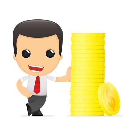 earn: gerente de divertidos dibujos animados en varias poses para su uso en publicidad, presentaciones, folletos, blogs, documentos y formularios, etc