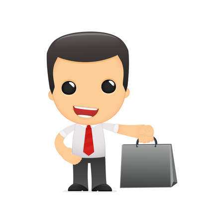 purchasing manager: funny cartoon manager in various poses for use in advertising, presentations, brochures, blogs, documents and forms, etc. Illustration